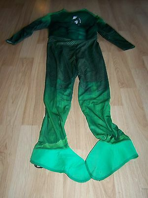 Boys Size Large 12 Muscled Chest Green Lantern Halloween Costume Jumpsuit GUC (Boys Green Lantern Costume)