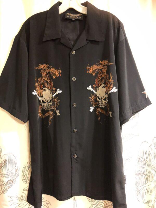 Dragonfly Motley Crue Nikki Sixx Stitched Skulls Button Down Shirt