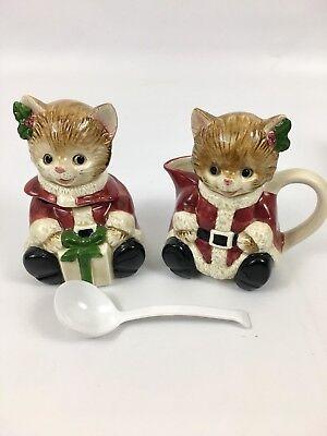 Vtg Hallmark Collectible Otagiri Christmas Cat Creamer & Sugar Bowl With Spoon
