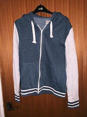 Burton Light And Dark Grey Stripe Zip Up Hoodie Hooded Jumper Size Large