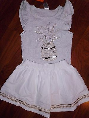 SZ 4 5 T Gymboree 2pc White Gold Pineapple Skirt Outfit Top Girl Clothing NWT  ()