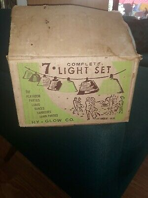 VINTAGE HY-GLO PATIO PARTY LANTERNS / LIGHTS - STRING OF 7 BLOW MOLD