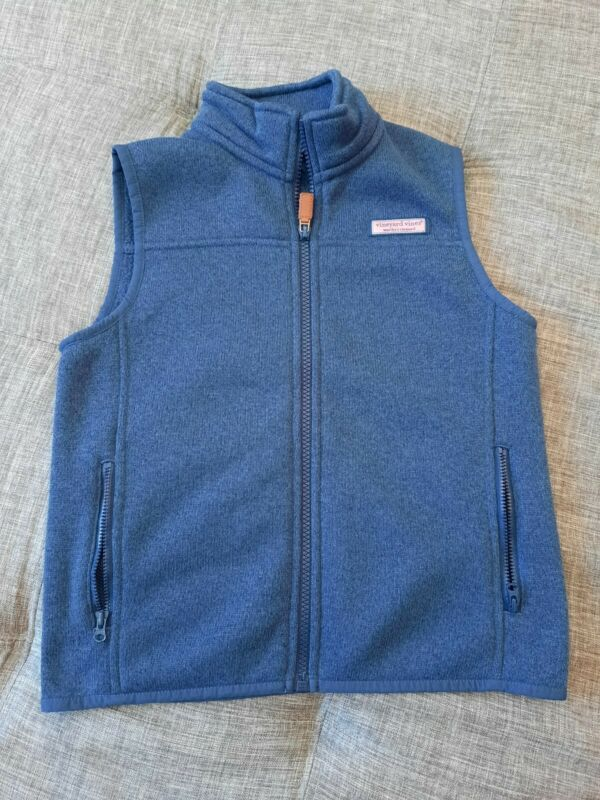 Vineyard Vines Boys •Size 7• Blue Full Zip Fleece Lined Vest w/ Pockets