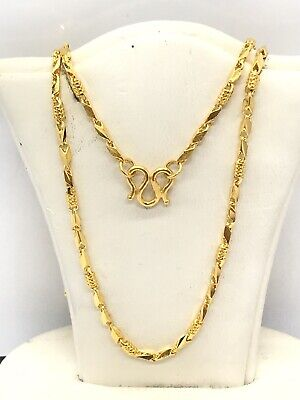 24k Yellow Gold Diamond Cut Flexible Baht Chain Link Necklace 18 Inches 8.76g