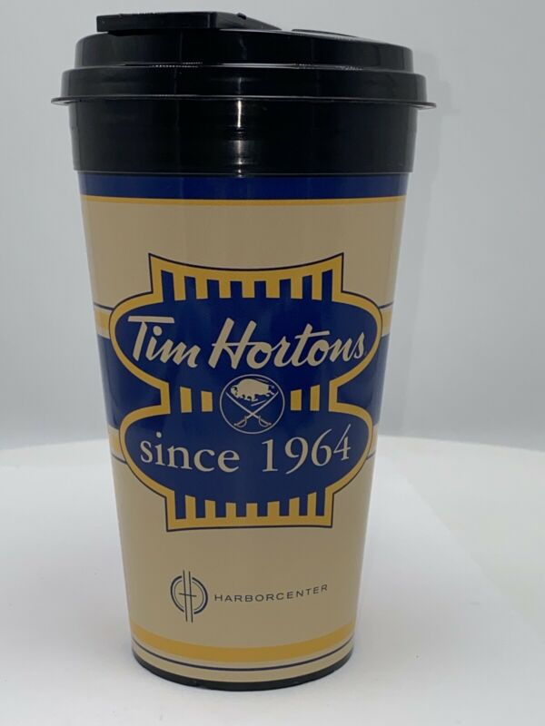 Tim Hortons Buffalo Sabers Harborcenter Plastic Travel Cup Mug & Lid 14 oz NHL
