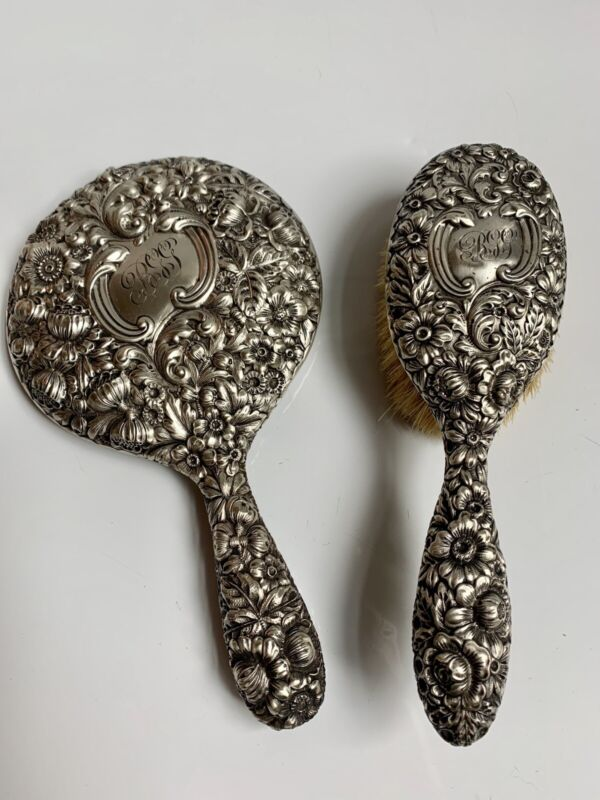 Gorham Sterling Silver Art Nouveau Repousse Hair Brush And Mirror