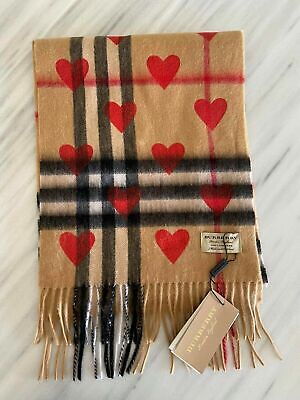 Burberry Cashmere Scarf with red hearts NWT