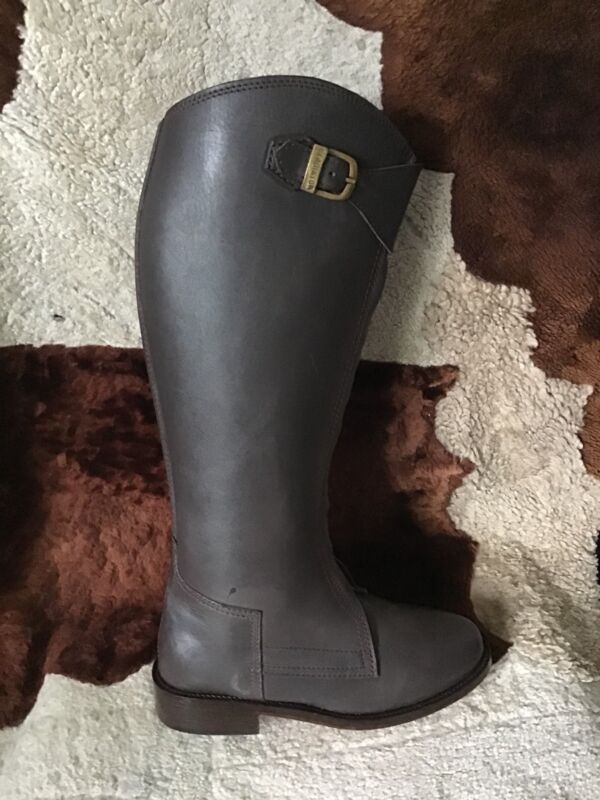 Womens Polo Player Boots 9.5 Brown Front Zipper with Knee Guards