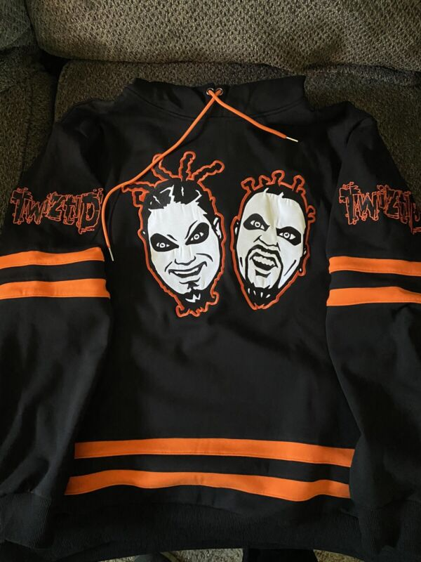 Twiztid Freek Show Faces Embroidered Jersey Style Hoodie Brand New XL ICP MNE