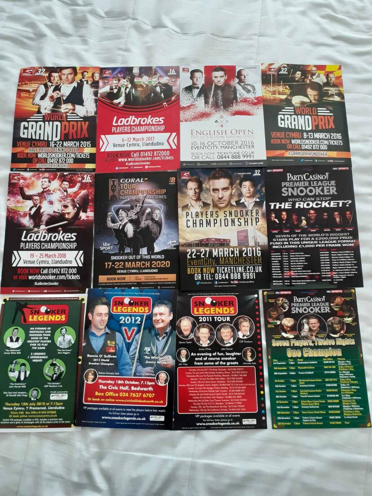 12 SNOOKER LEAFLETS FOR VARIOUS MATCHES