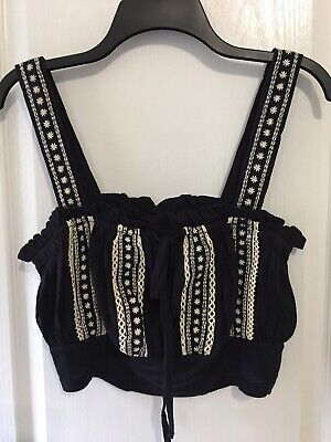 NWT Free People Hill Top Crop Top In Navy Size L  Pretty!