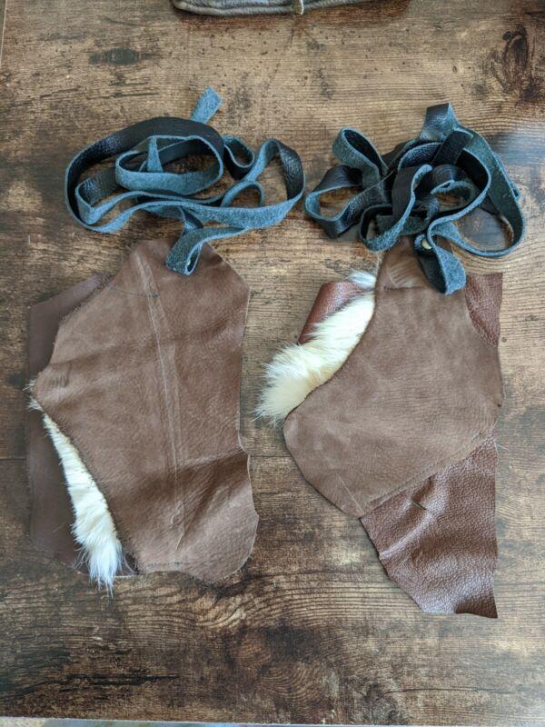 Brown black white fur leather bracers LARP cosplay