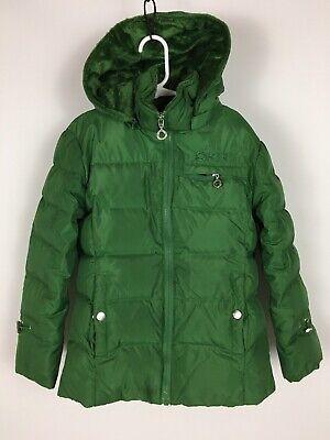 DKNY Donna Karan Kids-Girls Small Down Hooded Winter Jacket/Coat Green Youth