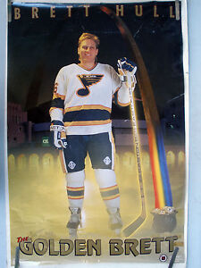 RARE-BRETT-HULL-ST-LOUIS-BLUES-1991-VINTAGE-ORIGINAL-COSTACOS-NHL-HOCKEY-POSTER