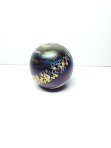 """Robert Held Art Glass Paperweight Color Gold Swirl Round 2.5"""" Tall Made in Canad"""