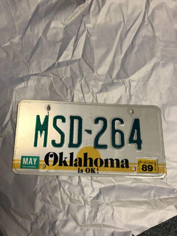 Oklahoma 1989 Sticker License Plate