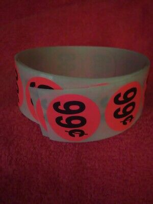 Lot Of 50 Round 99 Price Tag Stickers Labels Neon Orange Black