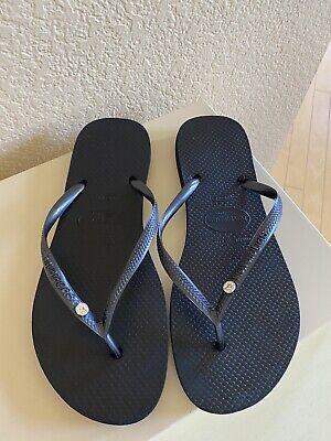 Havaianas Womens Flip Flops Black With Crystal 39/40 ( 7/8 Slim)