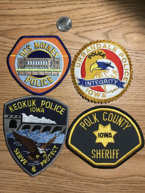 Iowa Police Patches: Des Moines, Urbandale, Keokuk & Polk Co
