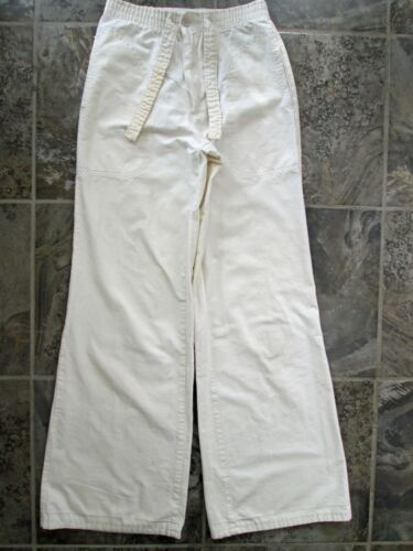 """VTG A.Smile INC Pants 26x31 White Hippy Wide Flare Leg """"Grin and Wear It"""" Cotton"""