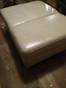 GENUINE LEATHER OTTOMAN (BEIGE) $60 ONO Toodyay Toodyay Area Preview