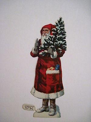 Antik Viktorianisch Vintage Gestanzt Santa Scrap Trägt Weihnachten mit / Orangen