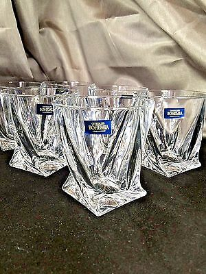 Crystal Set of 6 Rocks Glass Whiskey Cognac Vodka Tumbler 11oz / 340ml Bohemia