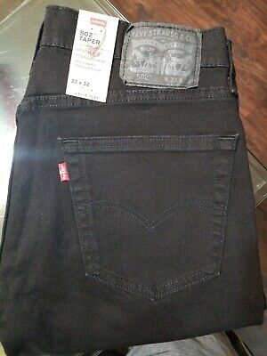 Levis Mens 502 Regular Tapered Leg Denim Black Jeans Tag Size 33X32 0001 Flex