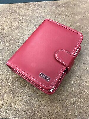 B14 Franklin Covey Day One Compact Personal Planner 6 Ring Red Faux Leather
