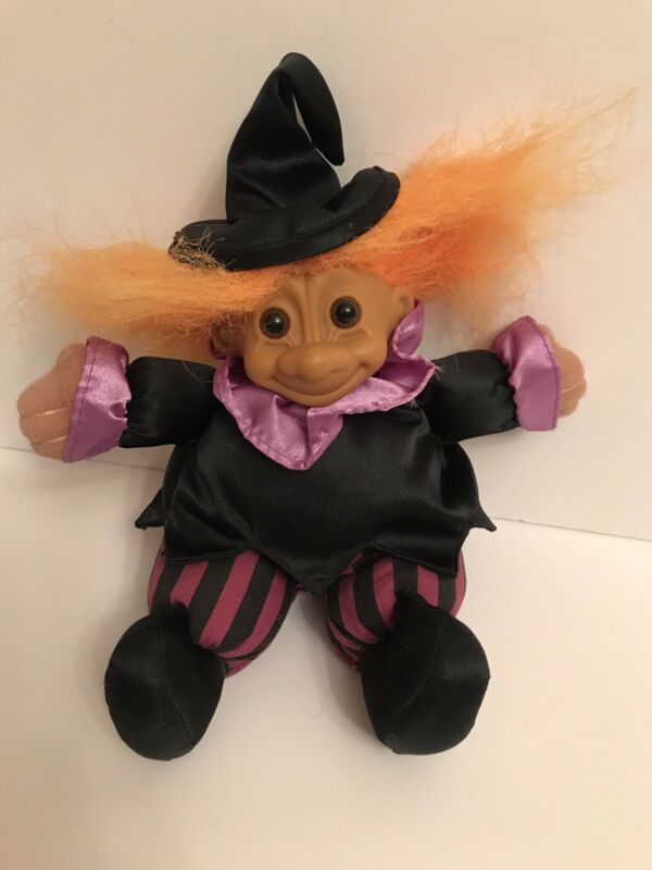 """Vintage Russ 7"""" Troll Doll Halloween Witch Beanie Baby"""