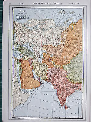 1926 MAP ~ ASIA WESTERN PART ARABIA TURKESTAN AFGHANISTAN PERSIA INDIA