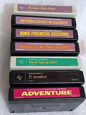 Lot Of 7 Ti Cartridges Texas Instruments Ti 99 4A System Invaders Typing Budget