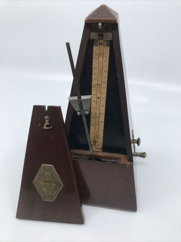 Antique Vintage Metronome Maëlzel J Millot Made in France With Bell Walnut Wood