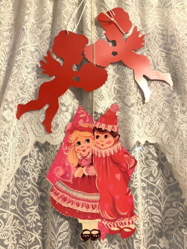 "Vintage Valentines Day Die Cut Paper Decor Hanging Girl Boy Cupid 11"" Lot Eureka"