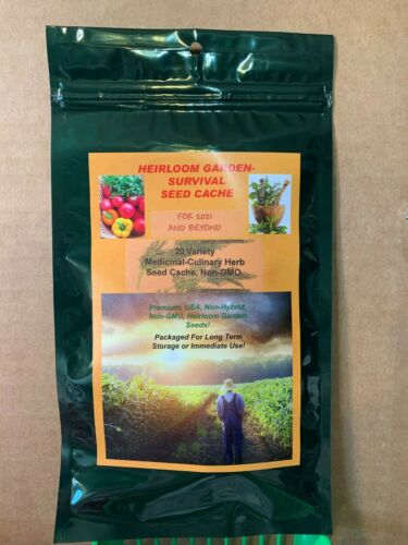 Herb 20 Variety ORGANIC Medicinal/Culinary Survival Seed Cache Heirloom Non-GMO
