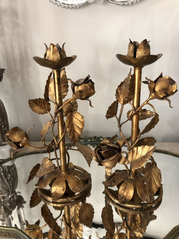 2 ANTIQUE SHABBY VTG CHIC ITALIAN GOLD GILT METAL TOLE ROSE CANDLE STICK HOLDERS