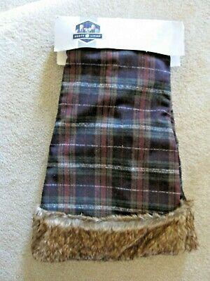"Scott Living 48"" Tree Skirt Earthy Plaid Faux Fur NWT!"