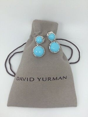 David Yurman Silver Round Chatelaine Double Drop Earrings in Turquoise