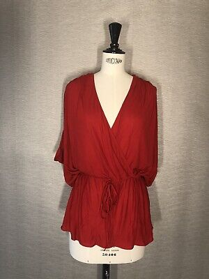 VINTAGE Alexander McQueen Red Jersey Grecian Drape Top Size Small