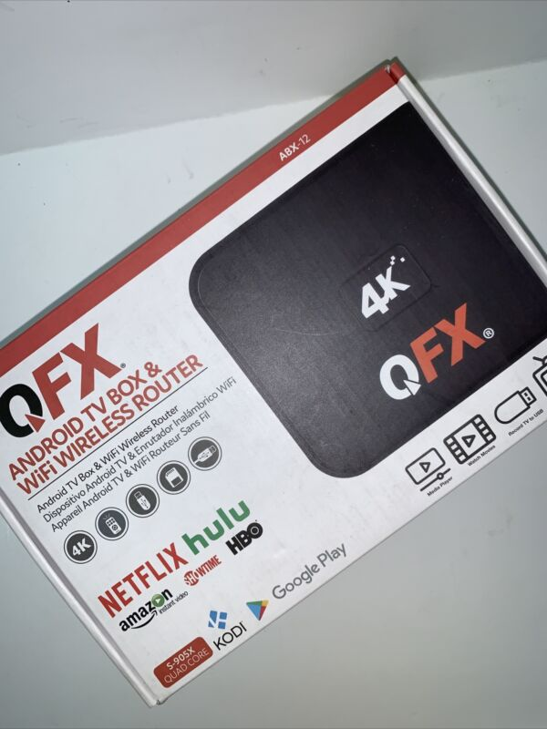 NEW QFX ABX-12 Android TV Box & WiFi Wireless Router w/ 4K Resolution Black