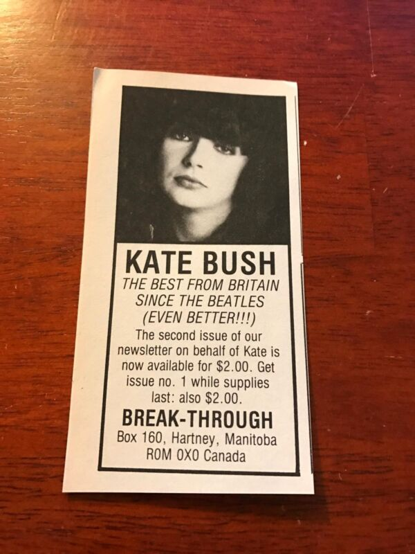 1984 VINTAGE 2.75X5.25 ALBUM PROMO PRINT Ad FOR KATE BUSH BEST SINCE THE BEATLES