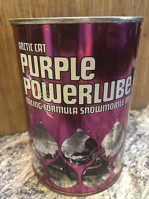 Vintage Arctic Cat Purple Powerlube Snowmobile 1 Quart Metal Oil Can Full
