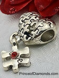 Silver coloured Heart puzzle w red gems fits pandora bracelet