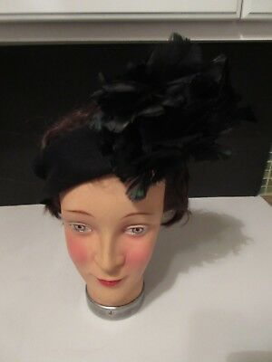 Vtg 1920's Women's Hat Black Feather Accent Headband Fascinator