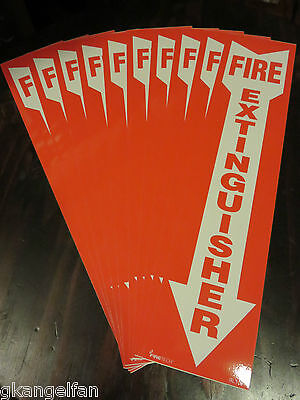 Lot Of 10 Self-adhesive 4 X 18 Vinyl Fire Extinguisher Arrow Signs...new