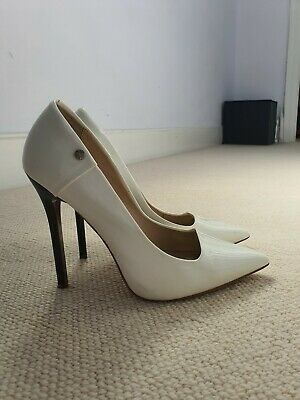 "Versace Jeans White Patent Eco Leather Pump Shoes Stiletto 4.72""/12 cm size 6uk"