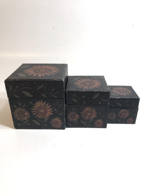 LANG Bobs Boxes Primitive Sunflower 3 Nesting Stacking Artist Susan Winget