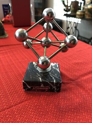"Vintage Atomium Brussels Paperweight 1958 World's Fair Marble Base 5"" Tall"