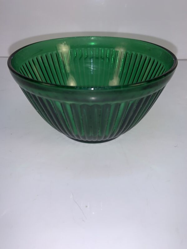 "Vintage Anchor Hocking Forest Green Ribbed Glass Mixing Bowl 4 3/4"" Mint"