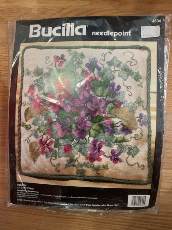 Bucilla VIOLETS 1994 Needlepoint Pillow Kit #4694 NEW & SEALED!